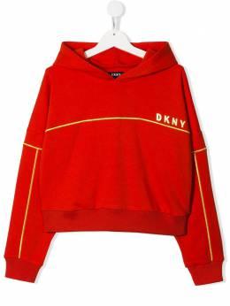 DKNY Kids укороченная толстовка с капюшоном и логотипом D35Q31