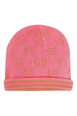 Розовая шапка с золотистым узором Gucci Kids 1256164864