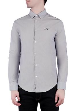 Серая полосатая рубашка с логотипом Armani Jeans 1742164648