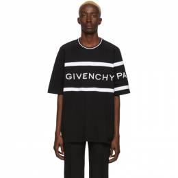 Givenchy Black Oversized Logo Band T-Shirt BM70KU3002