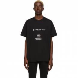 Givenchy Black Text Print T-Shirt BM70UX3002