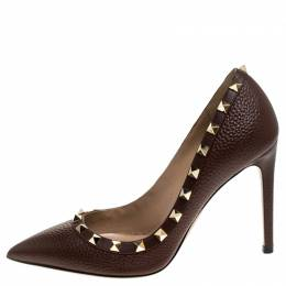 Valentino Brown Leather Rockstud Pointed Toe Pumps Size 37