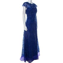 Tadashi Shoji Royal Blue Lace Cap Sleeve Milien Evening Dress L 243325