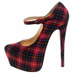 Christian Louboutin Multicolor Wool Blend Check Daffodils Mary Jane Platform Pumps Size 36 243973