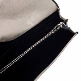 Prada Light Grey Vitello Grain Leather Flap Continental Wallet 240614