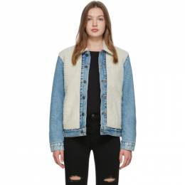 Levi's Off-White and Blue Sherpa Trucker Jacket 77379-0000