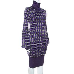Chanel Purple Lurex Knit Geometric Pattern Sweater Dress S 243170