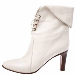 Chloe White Leather And Beige Canvas Kole Ankle Boots Size 38 244312