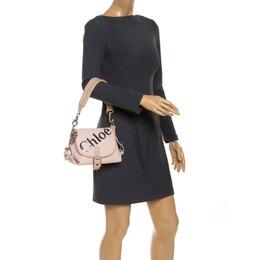 Chloe Pink/Beige Canvas and Leather Shoulder Bag 241839