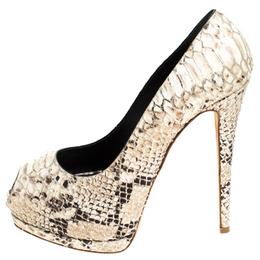 Giuseppe Zanotti Design Multicolor Python Embossed Leather Sharon Peep Toe Platform Pumps Size 40