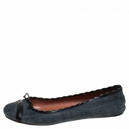 Alaia Black/Blue Denim Bow Ballet Flats Size 37 244185