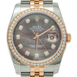 Rolex Black Mop Datejust Steel & Rose Gold Diamond Dial & Bezel Watch 36MM 245062