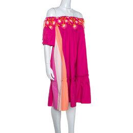 Peter Pilotto Pink Cotton Embroidery Detail Off-Shoulder Pallas Dress M 243292