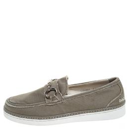 Dolce&Gabbana Grey Canvas Horsebit Loafers Size 40