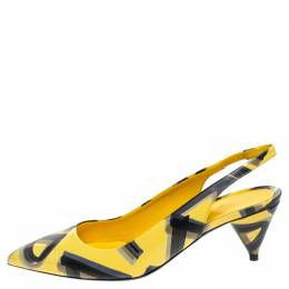 Burberry Yellow/Black Leather Morson Slingback Sandals Size 38.5 244373