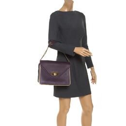 Chloe Purple Leather Medium Sally Shoulder Bag 241895