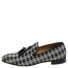 Christian Louboutin Black/White Woven Raffia Dandelion Tassel Slip On Loafers Size 42 244132