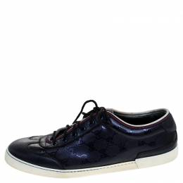 Gucci Metallic Blue GG Supreme Canvas And Leather Barcelona Low Top Sneakers Size 42.5 244133