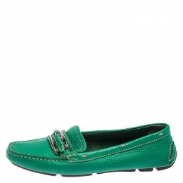 Prada Green Leather Buckle Detail Slip On Loafers Size 36.5 244138