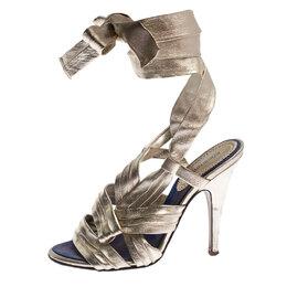 Roberto Cavalli Metallic Gold Leather Ankle Wrap Strappy Sandals Size 35.5 241517
