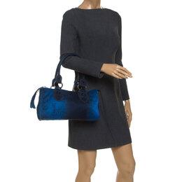 Gianfranco Fere Blue/Black Ombre Logo Print Fabric Bowler Bag Gianfranco Ferre 240774