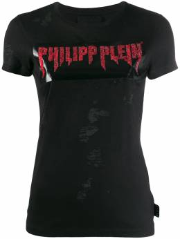 Philipp Plein футболка с логотипом и эффектом потертости A19CWTK1770PTE003N