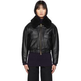 Ami Alexandre Mattiussi Black Grained Leather Shearling Jacket H19FL200.515