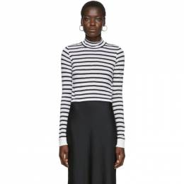 T By Alexander Wang White and Navy Striped Mock Neck T-Shirt 4CC2191110