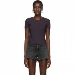 T By Alexander Wang Purple Rib Bias Shrunkens T-Shirt 4CC1201002