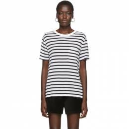 T By Alexander Wang White and Navy Striped Slub Pocket T-Shirt 4C991020A3