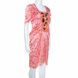 M Missoni Pink Printed Silk Embellished Bodice Ruched Detail Dress M 244246