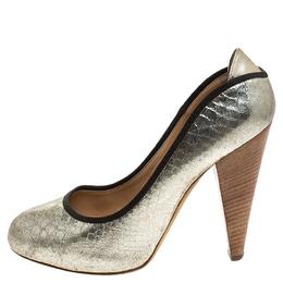 Giuseppe Zanotti Design Metallic Silver Python Embossed Leather Round Toe Platform Pumps Size 40 245032