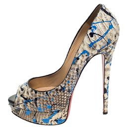 Christian Louboutin Multicolor Python Leather Troca Altareva Lady Peep Toe Platform Pumps Size 38 241913