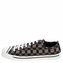 Burberry Blue/Brown Printed Canvas Kingly Low Top Sneakers Size 46 244735