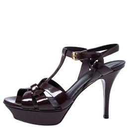Saint Laurent Burgundy Patent Leather Tribute Platform Sandals Size 37 245075