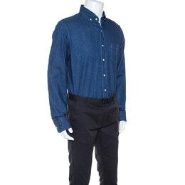 Tom Ford Indigo Blue Denim Classic Fit Shirt XL 244414