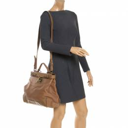 Tod's Brown Leather Top Handle Bag 243044
