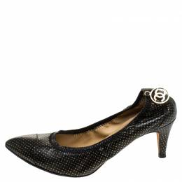 Chanel Black/Gold Polka Dot Leather Scrunch Pumps Size 38 244551