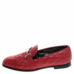 Tod's Red Quilted Leather Double T Slip On Loafers Size 37.5 244607