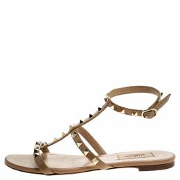 Valentino Beige Patent Leather Rockstud Ankle Strap Flat Sandals Size 38 244548