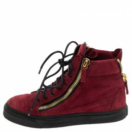 Giuseppe Zanotti Design Red Suede Mid Top Sneakers Size 36 244767