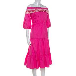 Peter Pilotto Pink Cotton Embroidery Detail Off-Shoulder Pallas Dress M 243345