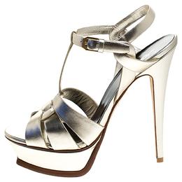 Saint Laurent Metallic Pale Gold Leather Tribute Platform Strap Sandals Size 40 244644