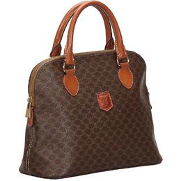Celine Brown Macadam Canvas Top Handle Bag