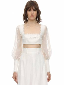 Cropped Linen Top W/ Embroidery Zimmermann 71IRSQ002-SVZPUlk1