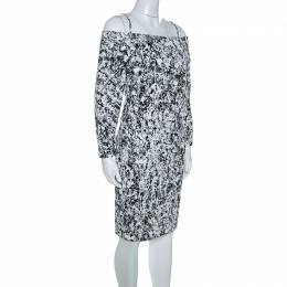 Jil Sander Monochrome Cotton Off Soulder Risiko Dress L 243788