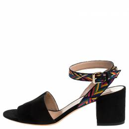 Valentino Black Suede And Multicolor Embroidered Fabric Strap Block Heel Sandals Size 38.5 244684