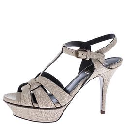 Saint Laurent Cream Textured Leather Tribute Platform Sandals Size 36.5 245871