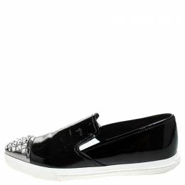 Miu Miu Black Patent Leather Embellished Slip On Loafers Size 37 245469