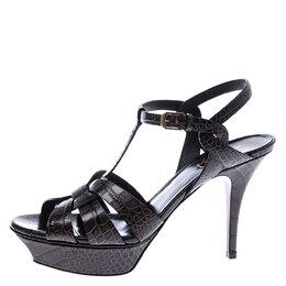 Saint Laurent Brown Croc Embossed Tribute Ankle Strap Sandals Size 39.5 245403